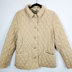 LL Bean Tan Quilted Rider Barn Jacket SZ M